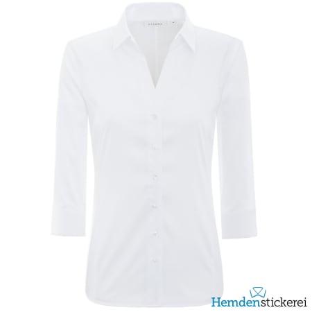 Eterna Bluse COMFORT FIT Popeline Stretch 3/4 Arm offenen Kragen Weiß