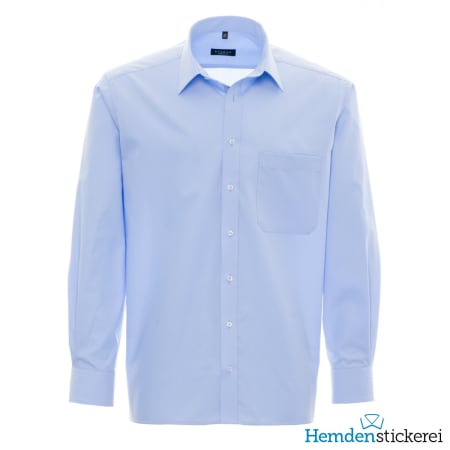 Eterna Hemd COMFORT FIT Popeline 1/1 Arm Basic Kent-Kragen Brusttasche Blau
