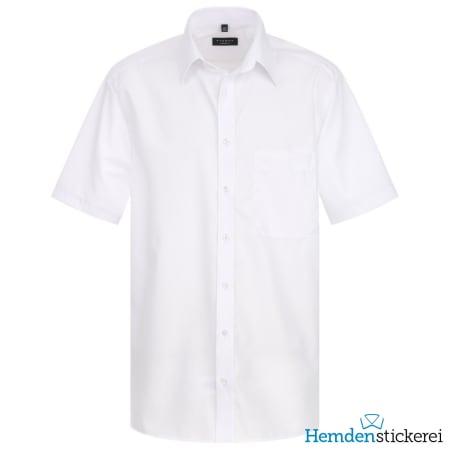 Eterna Hemd COMFORT FIT Popeline 1/2 Arm Basic Kent-Kragen Brusttasche Weiß