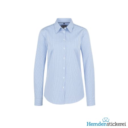 Hakro Bluse 1/1 Arm Vichy Karo Kent-Kragen Pastellblau