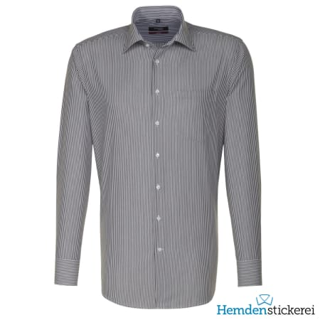 Seidensticker Hemd REGULAR 1/1 Arm Kent-Kragen Brusttasche Grau gestreift