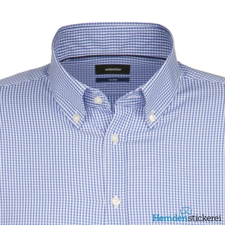 Seidensticker Hemd SHAPED 1/1 Arm Button-Down-Kragen Blau kariert
