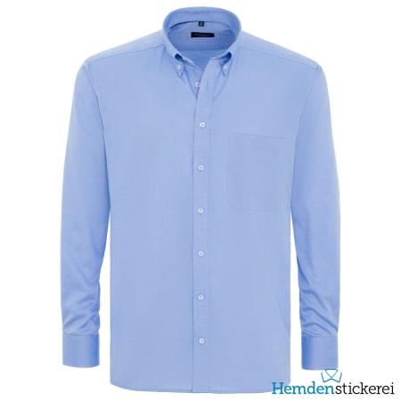 Eterna Hemd COMFORT FIT Pinpoint 1/1 Arm Button-Down-Kragen Brusttasche Mittelblau