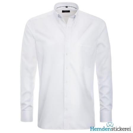 Eterna Hemd MODERN FIT Pinpoint 1/1 Arm Button-Down-Kragen Brusttasche Weiß