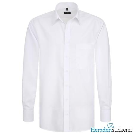 Eterna Hemd COMFORT FIT Popeline 1/1 Arm Basic Kent-Kragen Brusttasche Weiß
