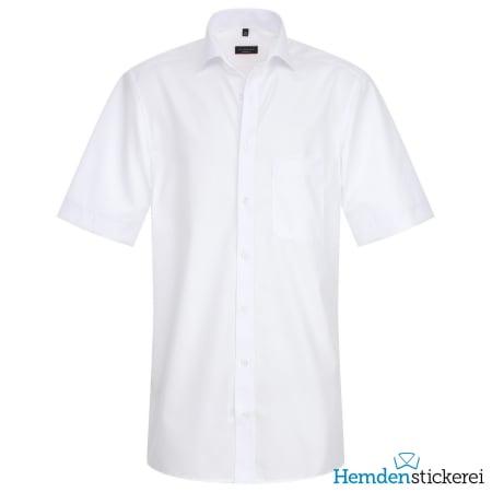 Eterna Hemd MODERN FIT Popeline 1/2 Arm Classic Kent-Kragen Brusttasche Weiß