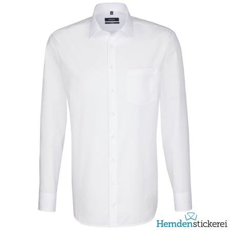 Seidensticker Hemd COMFORT 1/1 Arm Kent-Kragen Brusttasche Weiß