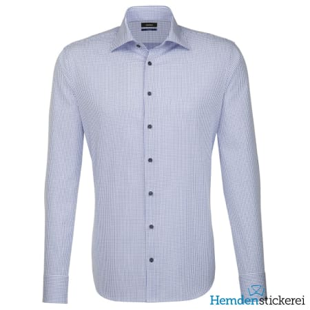 Seidensticker Hemd SHAPED 1/1 Arm Kent-Kragen Blau kariert