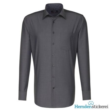 Seidensticker Hemd REGULAR 1/1 Arm Kent-Kragen Brusttasche Grau