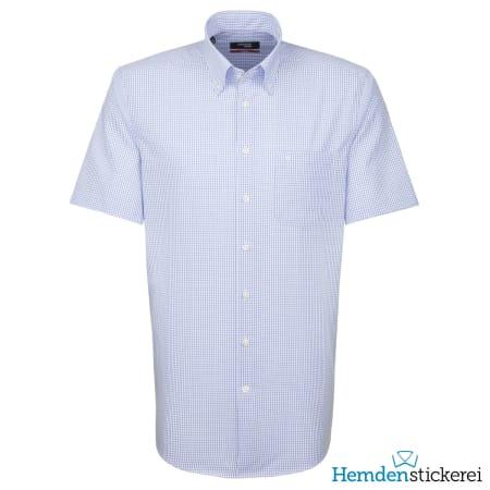 Seidensticker Hemd REGULAR 1/2 Arm Button-Down-Kragen Brusttasche Blau kariert