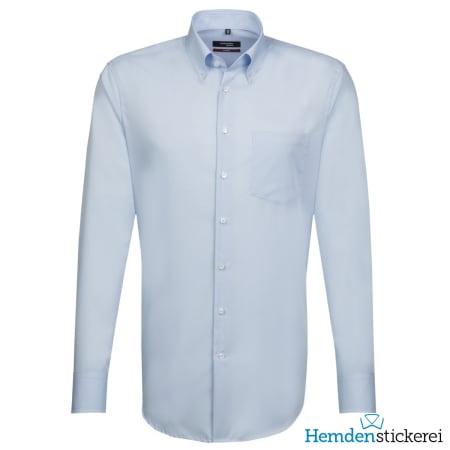 Seidensticker Hemd REGULAR 1/1 Arm Button-Down-Kragen Brusttasche Hellblau