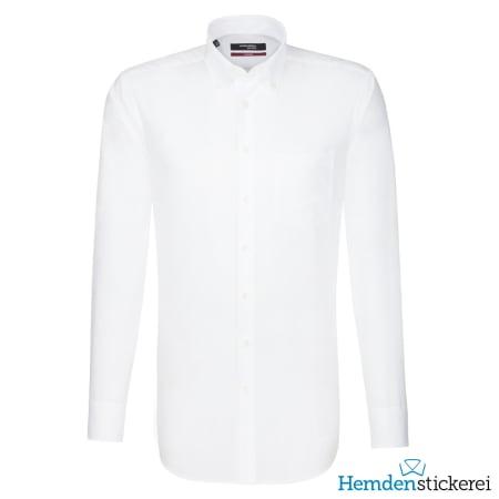 Seidensticker Hemd REGULAR 1/1 Arm Button-Down-Kragen Brusttasche Weiß