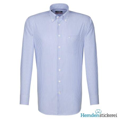 Seidensticker Hemd REGULAR 1/1 Arm Button-Down-Kragen Brusttasche blau