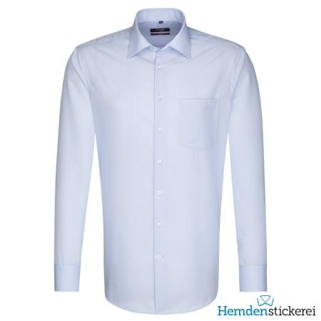 Seidensticker Hemd REGULAR 1/1 Arm Kent-Kragen Brusttasche Blau klein-kariert