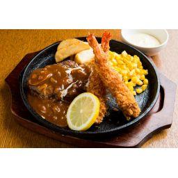 【ディナー限定】ハンバーグ&エビフライ(ライス)※前日18時までのご注文