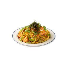 鮭とコーンのバター醤油炒めスパゲティ