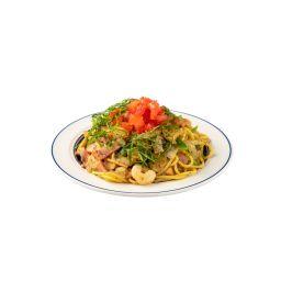 定番醤油バジル炒めスパゲティ