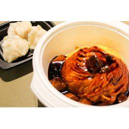 黒酢酢豚天津飯セット (水餃子3個付き)