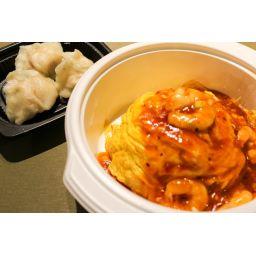 エビチリ天津飯セット (水餃子3個付き)