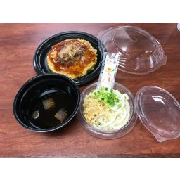 お好み焼き定食+ミニ冷やしうどん(インスタント味噌汁付き)