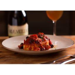 カジキマグロのシチリア風ロースト トマト オリーブ ケッパー アーモンド