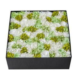 オリジナル プリザーブドフラワーボックス L(ホワイト・グリーン)