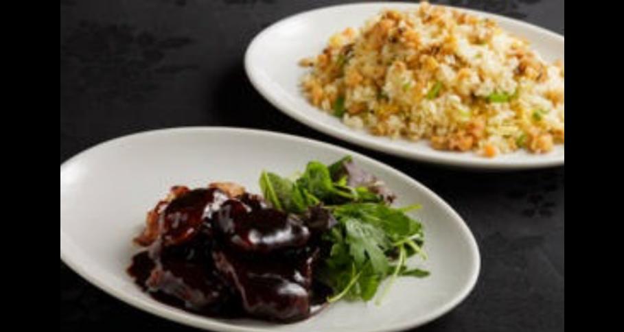 揚州チャーハンとハマポークの黒酢スブタセット