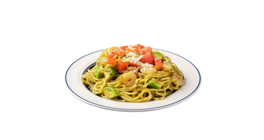 海老とアボカドの豆乳ジェノベーゼスパゲティ