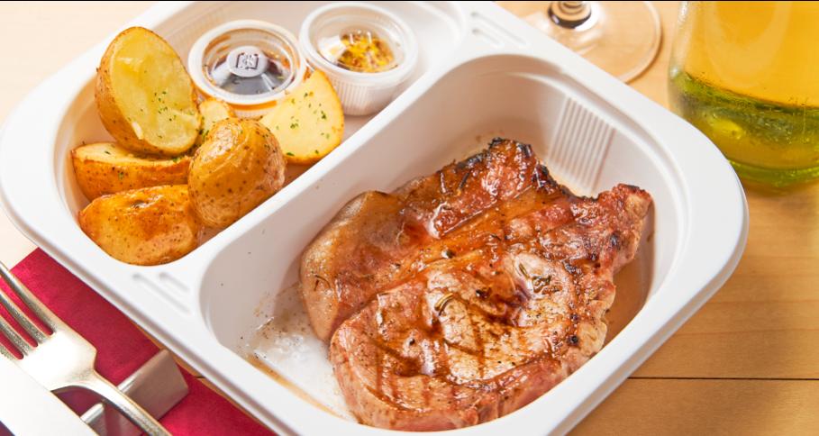 新潟県産 雪室熟成『越乃黄金豚』 ロース肉の炭火焼き じゃが芋のフリット付き