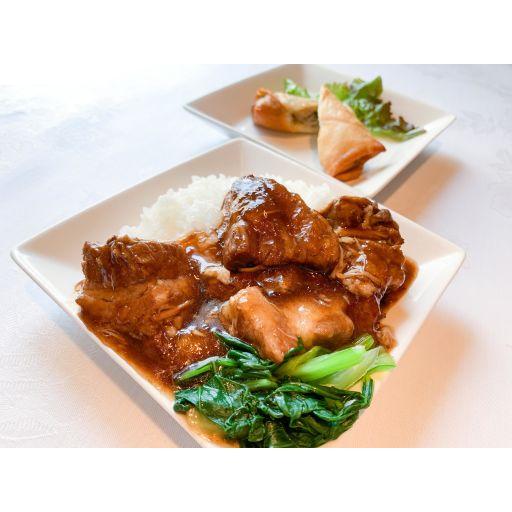山百合ポークの角煮丼+春巻セット-0