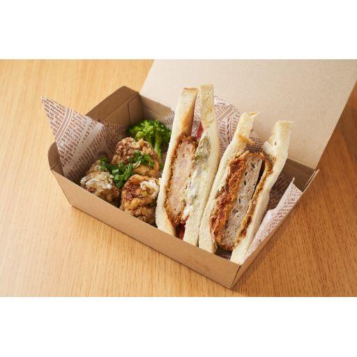 カツサンドと選べるサンドイッチと唐揚げ3個セット-0