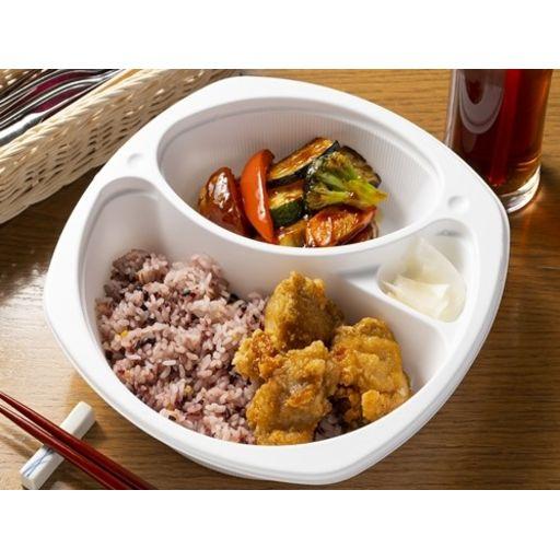 鶏モモ肉のから揚げ(4個) 彩り野菜の黒酢ソース合え(オリジナル十穀米使用)-0