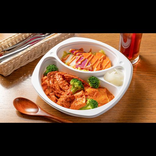 ブロッコリーとパッケリの渡り蟹のトマトクリームソース&温野菜サラダコブドレッシング-0