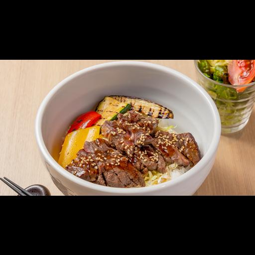 牛ステーキとグリル野菜丼-0