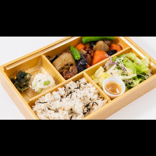 ごろごろ根菜と豚肉の黒酢ソース弁当-1
