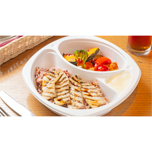 自家製塩漬け豚グリル(100g)バルサミコソース&彩り野菜の黒酢ソース合え オリジナル十穀米-0