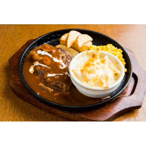 【ディナー限定】ハンバーグ&エビグラタン(ライス)※前日18時までのご注文