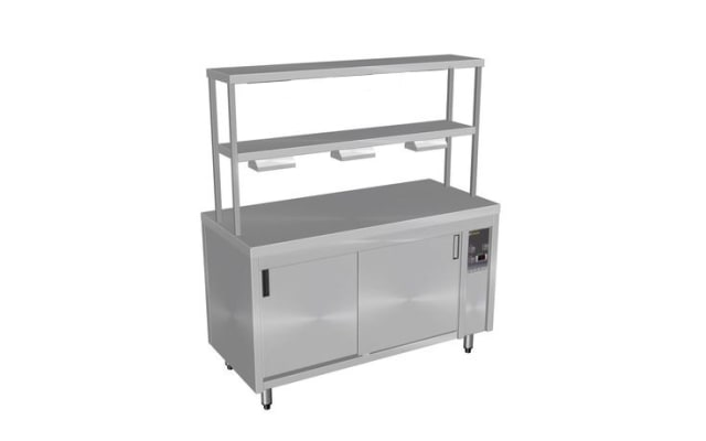 Culinaire Island Hot Cupboard with Double Gantry and Heat Lamps