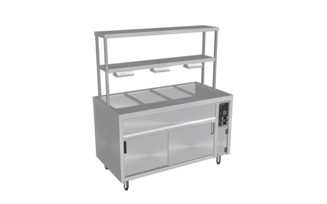 Culinaire Pass Through Bain Marie Hot Cupboard Island Model with Double Gantry & Heat Lamps