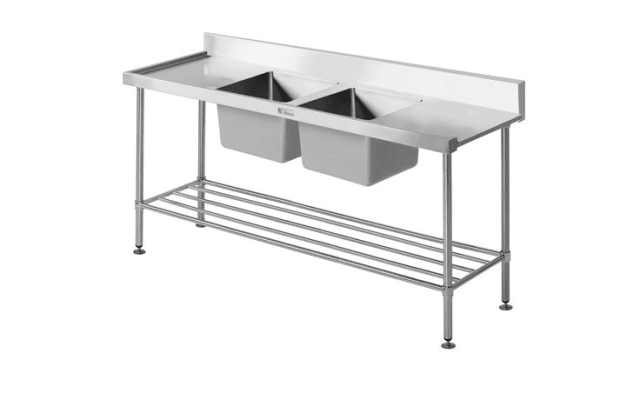 Simply Stainless Double Sink Dishwasher Inlet Bench SS09