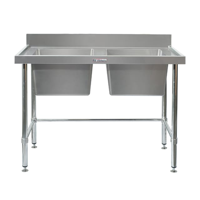 Simply Stainless Double Sink Bench with Splashback SS06