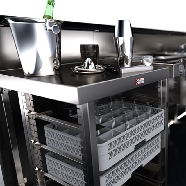 Simply Stainless Single Bar Module with Basket Rack
