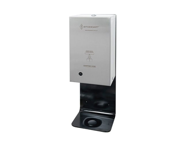 Black Powdercoated Automatic Hands Free Lockable Sanitiser Dispenser with Wall Mounting Plate