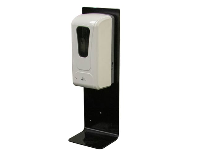 Black Powdercoated Automatic Hands Free Sanitiser Dispenser with Wall Mounting Plate