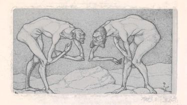 Two Men Meet, Each Believing the Other to Be of Higher Rank (Klee)