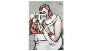 Woman Dressed in White Slip [Reading] (Beckmann)