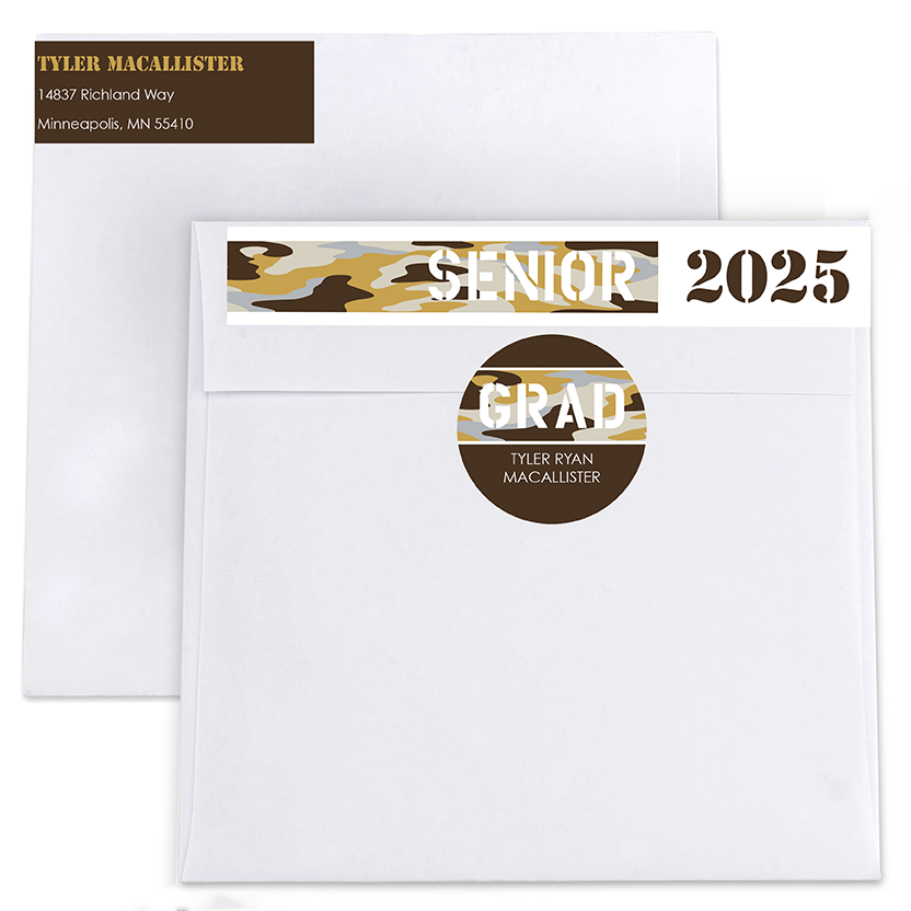 Collegiate Camo Return Address Labels and Seals