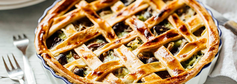Pilz-Pie serviert mit Hero Pilzen