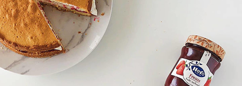 Victoria sponge cake y confitura de fresa