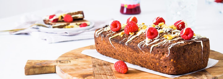 Bananencake met witte chocolade en frambozen_eindresultaat_384